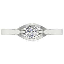 Load image into Gallery viewer, Top View Round Cut Diamond 14K White Gold Ring-SR-752