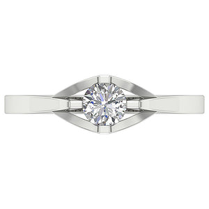 Top View Round Cut Diamond 14K White Gold Ring-SR-752