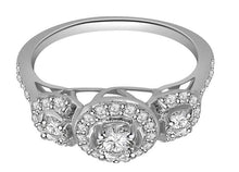 Load image into Gallery viewer, Round Cut Diamond Prong Pave Set White Gold Ring-TR-83-2