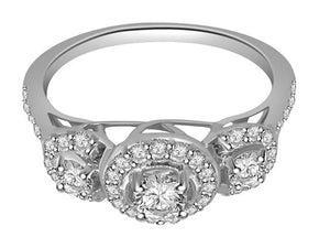 Round Cut Diamond Prong Pave Set White Gold Ring-TR-83-2