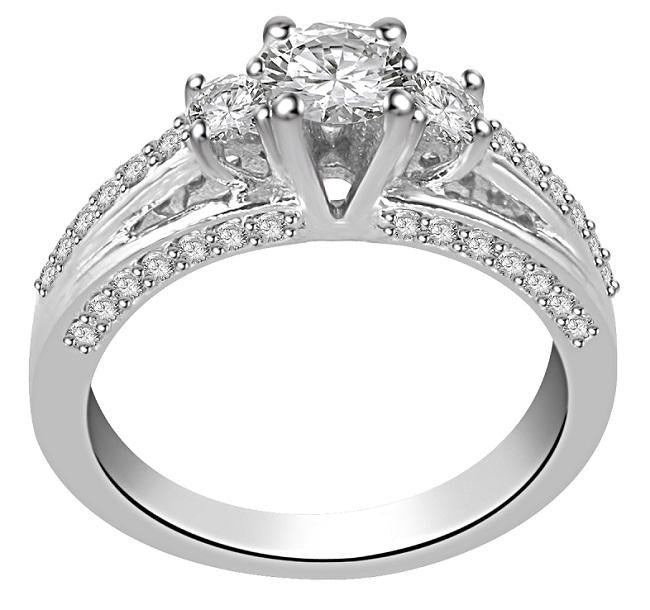 SI1 G 1.05Ct Designer Three Stone Engagement Ring Real Diamond Prong Pave Set 14K White Gold 4.80MM