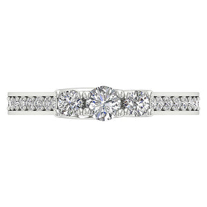 Three Stone Anniversary Ring Round Diamond I1 G 0.65 Ct Prong & Pave Set 14k White Gold 4.00MM