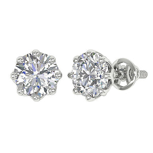 Cross And Side View Natural Diamonds Earrings-DST102