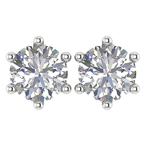 14K Solid Gold Studs Earring Round Diamond-DST21-2.50