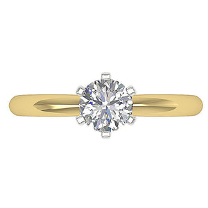 Top View Genuine Diamond 14K Solid Gold Ring-DSR155-SR-23C