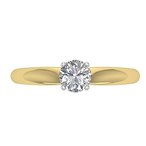 Genuine Diamond Yellow Gold Ring Top View-SR-180-3