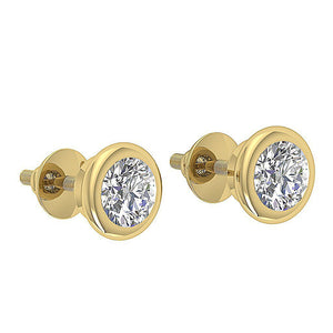 Yellow Gold Designer Natural Diamond Side View Earring-DST101-1.00CT