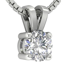 Load image into Gallery viewer, 4 Prong Set 14k-18k White Gold Solitaire Pendants-DP81-0.50-4
