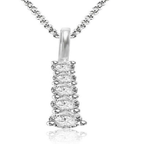 White Gold Designer Prong Set Pendants-P-125