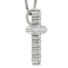 Load image into Gallery viewer, Side View 14k-18k White Gold Designer Prong Set Pendants-P-589