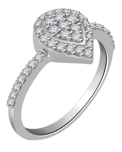 Right Hand Designer Anniversary Ring Natural Diamond SI1 G 0.55 Ct 14k White Gold Prong Set 9.80MM
