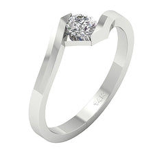 Load image into Gallery viewer, Bezel Set Engagement 14k White Gold Side View-SR-724-2