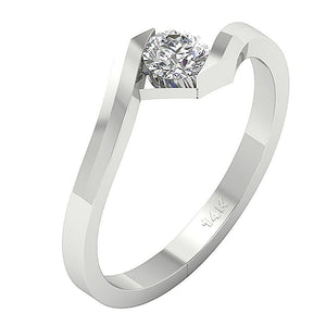 Bezel Set Engagement 14k White Gold Side View-SR-724-2
