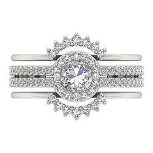 Load image into Gallery viewer, 14K White Gold Designer Halo Engagement Ring-CR-192