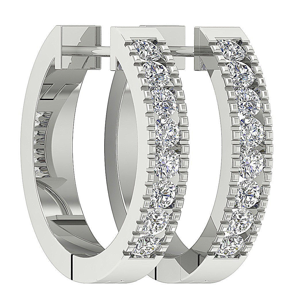 White Gold Designer Medium Hoops Earring-DE11