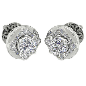Diamond White Gold Designer Round Cut Earring-DE170