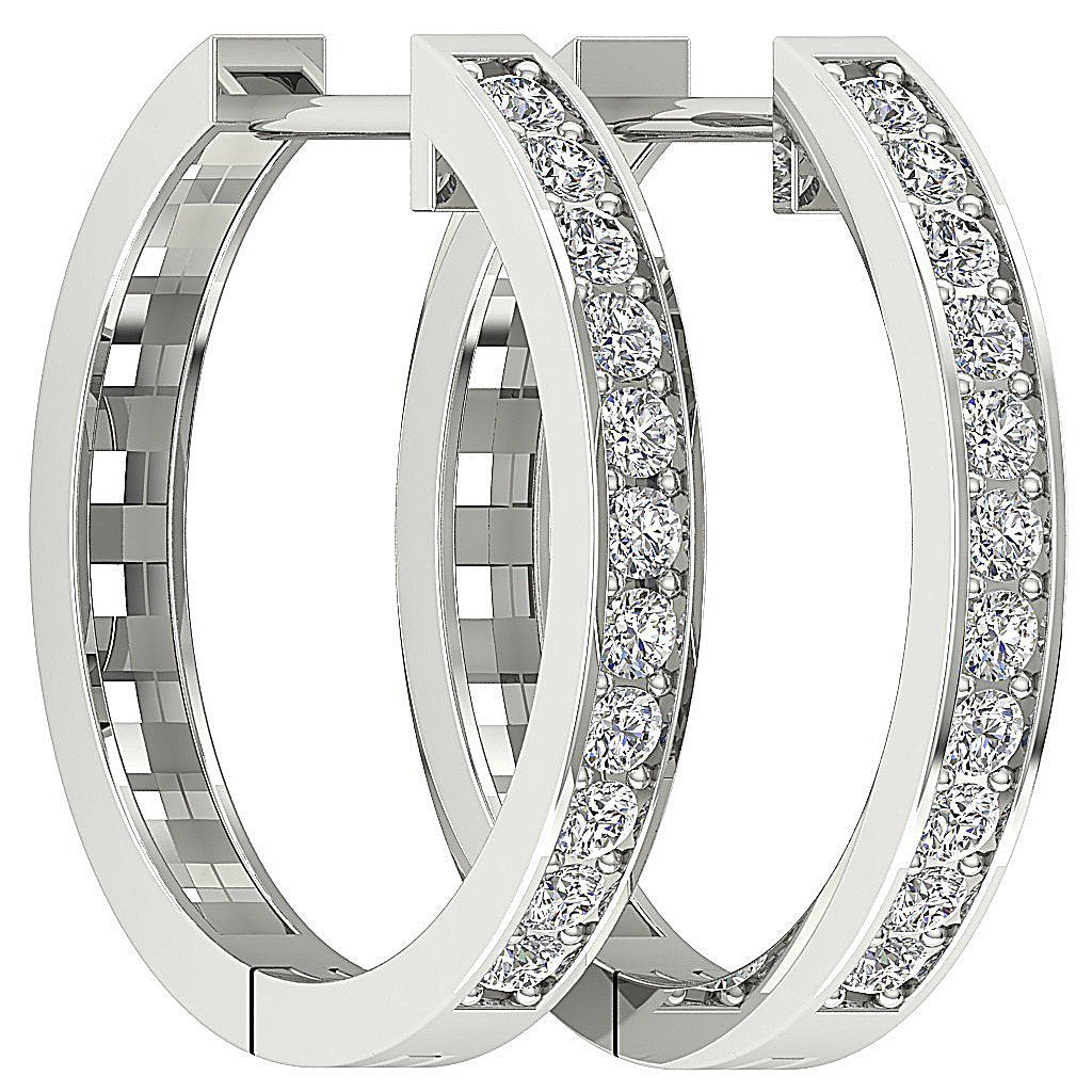Medium Hoops Earrings 14k White Yellow Gold SI1 G 0.50 Ct Natural Diamonds Pave Set 0.78 Inch
