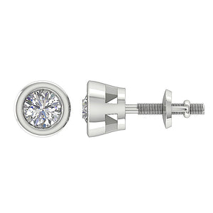 Solitaire Studs Earrings SI1 G 0.75 Ct Bezel Set Round Diamonds 14k/18k White Yellow Gold
