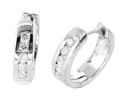 14k White Yellow Gold Natural Diamonds I1 G 0.20 Ct Small Hoop Earrings Channel Set 0.47 Inch