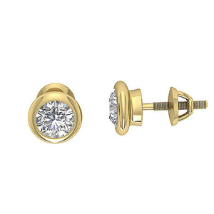 Designer Round Diamond Yellow Gold Earring-DST101-1.00CT