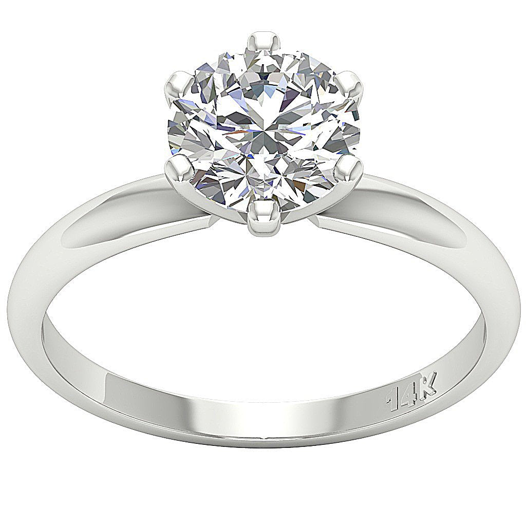 14k Solid White Gold Solitaire Engagement Ring-DSR-1.80