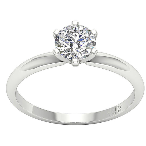 14K White Gold Solitaire Natural Round Diamond Designer Anniversary Ring SI1 G 0.60 Ct Six Prong Set 5.30MM