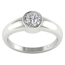 Load image into Gallery viewer, 14K White Gold Solitaire Natural Round Diamond Designer Wedding Ring SI1 G 0.60 Ct Bezel Set 5.30MM