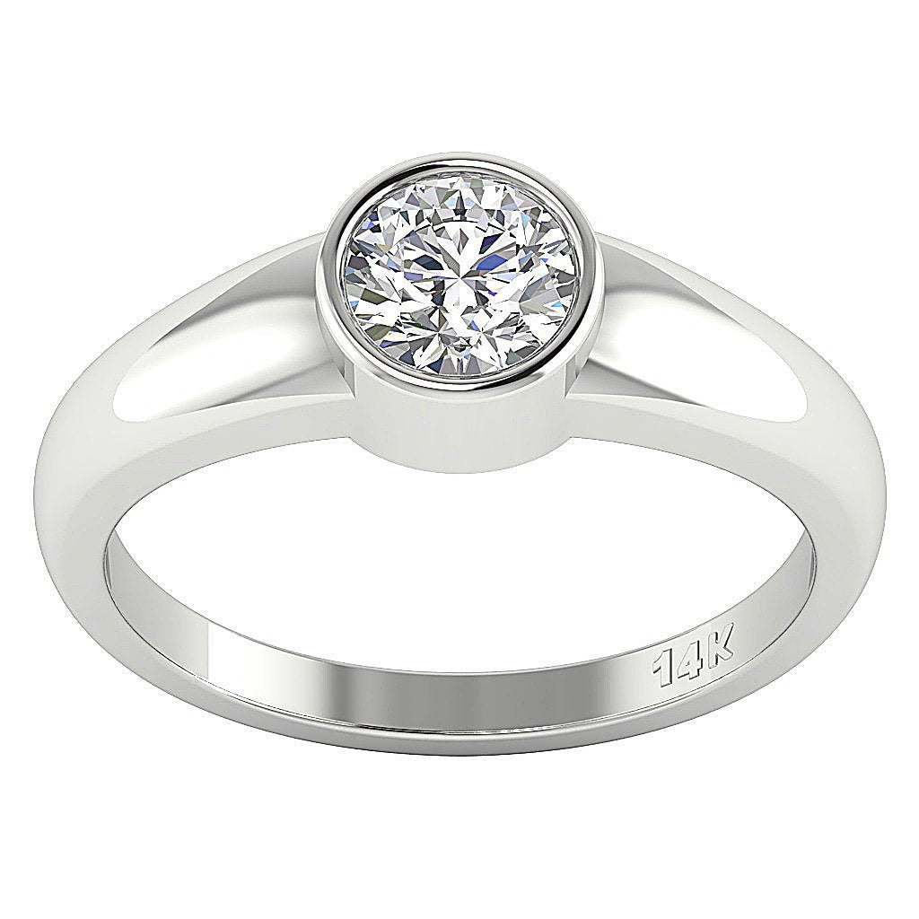14K White Gold Solitaire Natural Round Diamond Designer Wedding Ring SI1 G 0.60 Ct Bezel Set 5.30MM