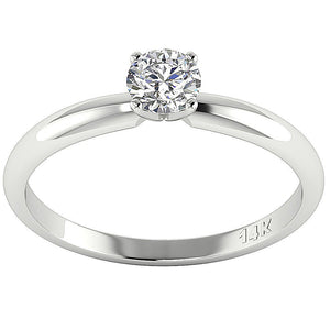 4 Prong Solitaire 14k Solid Gold Ring-DSR26-0.50-1