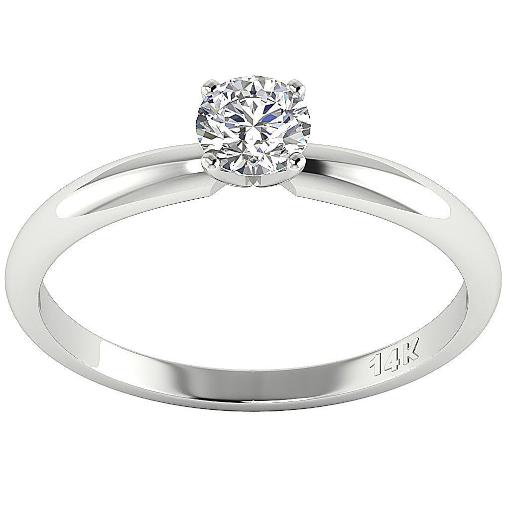 14K White Gold Solitaire Natural Round Diamond Engagement Ring SI1 G 0.50 Carat Prong Set 5.10MM