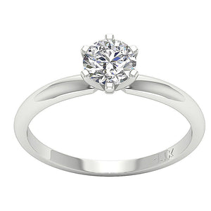 Solitaire Round Diamond Designer Anniversary Ring I1 G 0.70 Ct 14K White Gold Six Prong Set 5.70MM