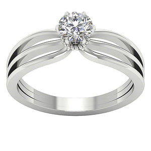 Solitaire Anniversary White Gold Ring-SR-1058-1