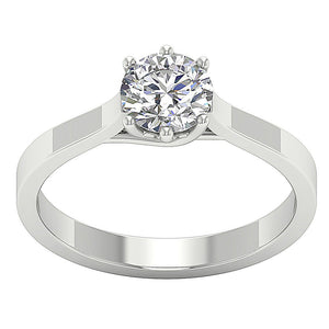 White Gold Vintage Singal Solitaire Ring-SR-1105