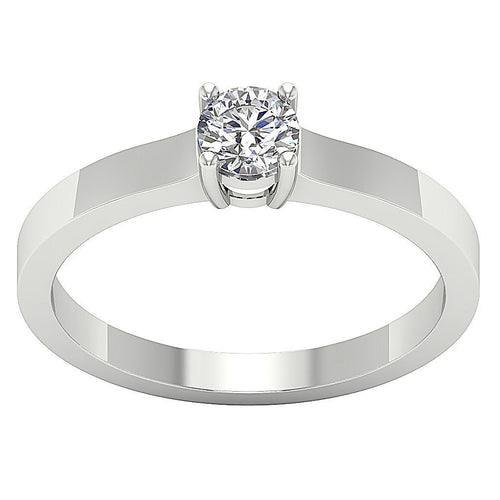 14K White Gold Solitaire Round Diamond Designer Wedding Ring SI1 G 0.50 Ct Prong Set 5.10MM