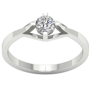 4 Prong Solitaire Engagement 14k White Gold Ring-SR-752-1
