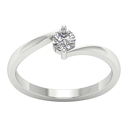 14K White Gold Solitaire Round Diamond Designer Anniversary Ring SI1 G 0.30 Carat Pave Set 5.10MM