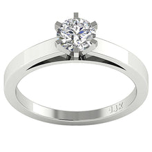 Load image into Gallery viewer, Solitaire Round Diamond Designer Anniversary Ring I1 G 0.50 Ct 14K White Gold Six Prong Set 5.10MM