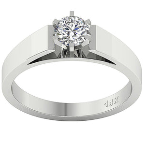 Solitaire Anniversary 14k Solid White Gold Ring-SR 766-0.80