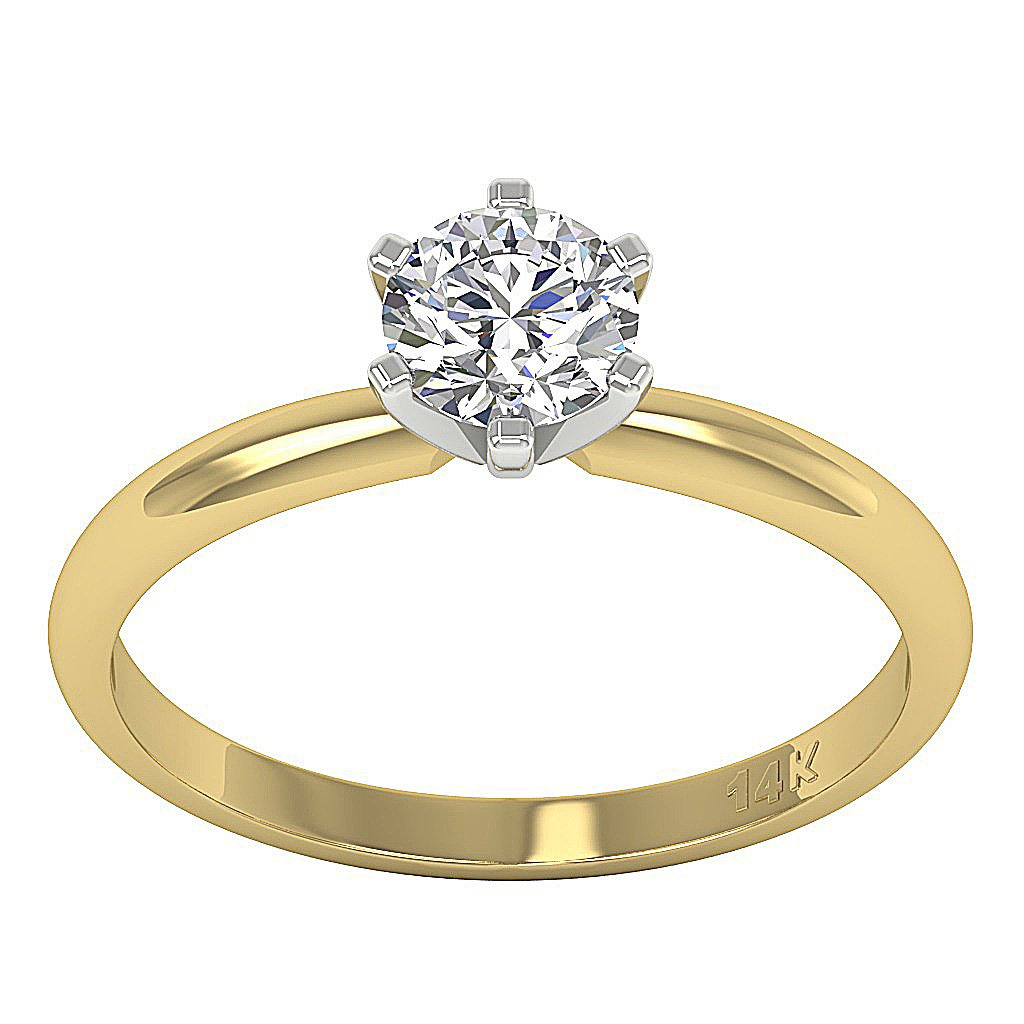 6 Prong Solitaire Yellow Gold Ring-DSR155-SR-23C-1