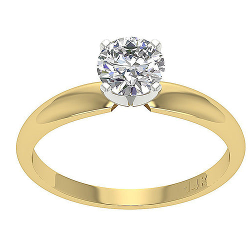 Solitaire Natural Diamond Designer Engagement Ring I1 G 0.70 Ct 14K Yellow Gold 4 Prong Set 5.70MM