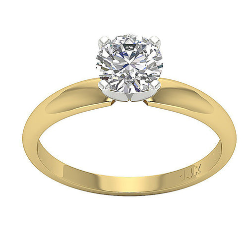 Solitaire Natural Diamond Designer Wedding Ring I1 G 0.80 Ct 14K Yellow Gold 4 Prong Set 5.90MM