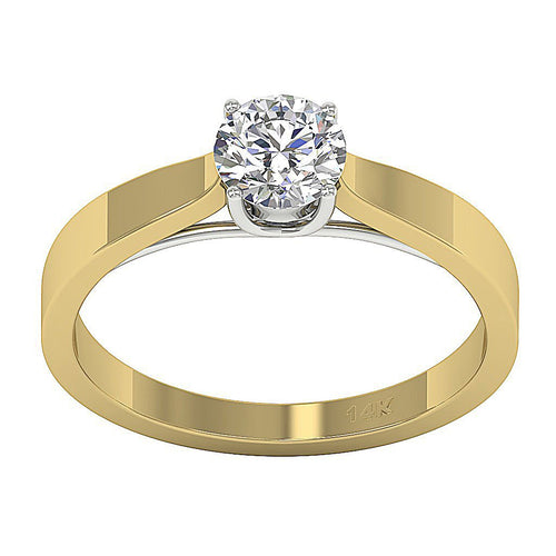 Solitaire Natural Diamond Designer Wedding Ring I1 G 0.60 Ct 14K Yellow Gold 4 Prong Set 5.30MM