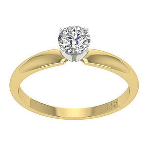 Solitaire Natural Diamond Designer Anniversary Ring I1 G 0.55 Ct 14K Yellow Gold 4 Prong Set 5.80MM