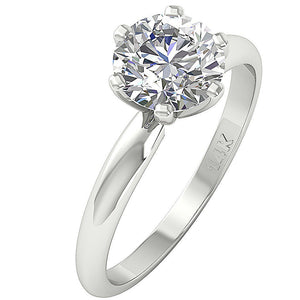14k Solid White Gold Solitaire Engagement Ring-DSR-1.80-2