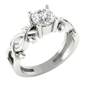 14K White Gold Solitaire Natural Round Diamond Designer Wedding Ring I1 G 0.90 Carat Prong Set 7.30MM