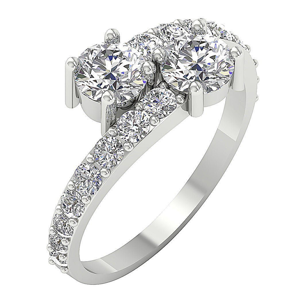 Forever Us Two Stone Designer Solitaire Ring SI1 G 1.85 Ct Natural Diamond