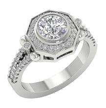 Load image into Gallery viewer, Prong Bezel Set Solitaire Engagement Ring Side View-DSR647-1