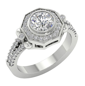 Prong Bezel Set Solitaire Engagement Ring Side View-DSR647-1