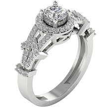 Load image into Gallery viewer, Accent With Solitaire Wedding Ring Gold Anniversary's gift-SR-1187-1
