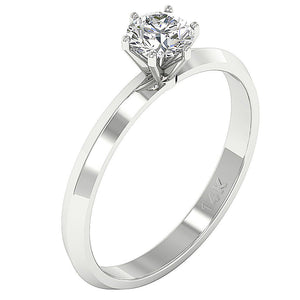 Solitaire Designer Anniversary Ring Natural Diamond I1 G 0.70 Ct 14K Solid Gold 6 Prong Set 5.70MM